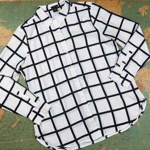 Ann Taylor Windowpane Button Down Blouse Size 10